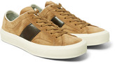 Tom Ford - Cambridge Polished Leather-panelled Suede Sneakers