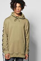Boohoo Oversized Lace Up Hoodie