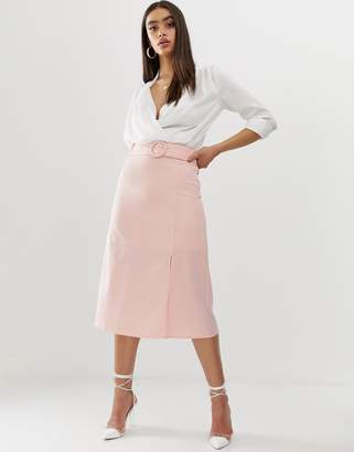 Fashion Union midi skirt with buckle-Pink