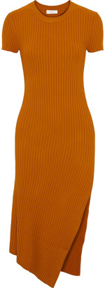 A.L.C. Asymmetric Ribbed-knit Dress
