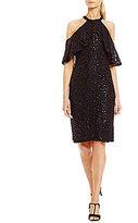 Marina Ruffled Halter Sequin Lace Dress