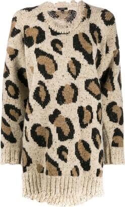 R 13 leopard print sweater