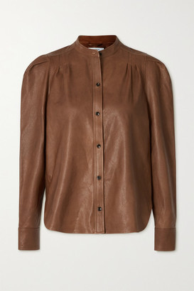 Frame Charlie Leather Shirt - Tan