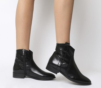 Office Amuse Western Flat Boots Black Leather