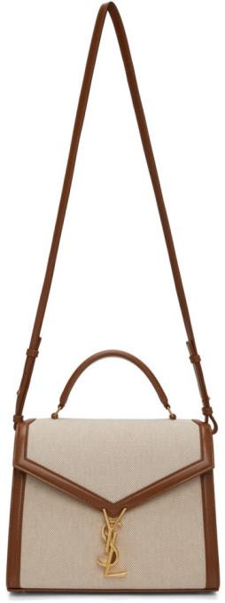 Saint Laurent Off-White and Brown Canvas Medium Cassandra Bag