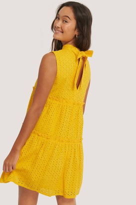 NA-KD Tie Neck Anglaise Dress