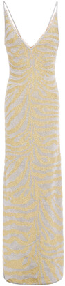 Herve Leger Metallic Zebra-print Stretch-knit Gown