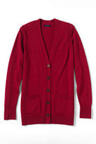 Lands' End Women's Petite Merino V-neck Cardigan Sweater-Red