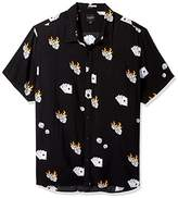 GUESS Men's Short Sleeve Rayon Dice Print Shirt