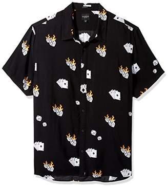 GUESS Men's Short Sleeve Rayon Dice Print Shirt