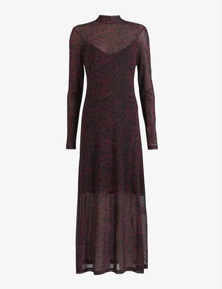AllSaints Hanna floral-print mesh maxi dress
