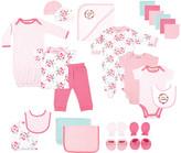 Luvable Friends Girls' Infant Bodysuits Floral - Blue 24-Piece Bodysuit & Towel Gift Pack - Newborn