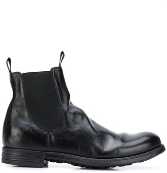 Officine Creative Creased Leather Ankle Boots