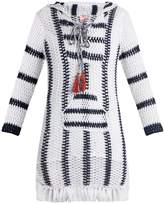 Anna Kosturova Cape Cod striped-crochet hooded dress