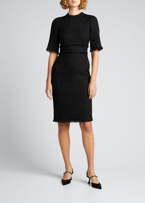 Dolce & Gabbana Tweed Frayed Sheath Dress