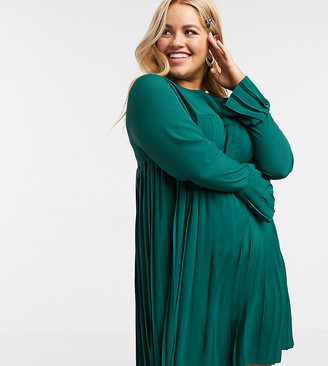 ASOS DESIGN Curve pleated trapeze mini dress with long sleeves in forest green
