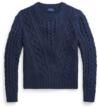 Ralph Lauren Aran-Knit Cotton-Blend Jumper