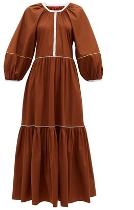 STAUD Demi Tiered Cotton-blend Poplin Maxi Dress - Light Brown