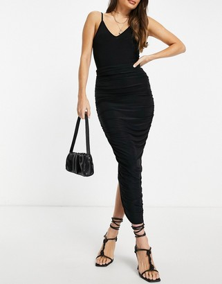 Club L London ruched detail body-conscious maxi skirt in black