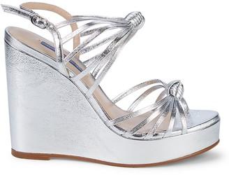 Stuart Weitzman Saffron Metallic Platform Wedge Sandals