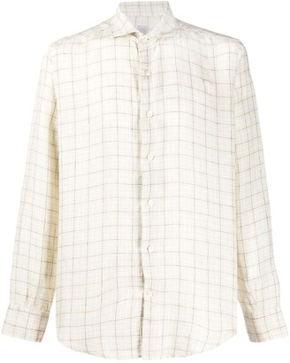 Eleventy Long Sleeve Fitted Checked Shirt