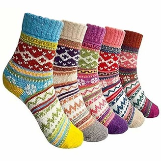 BluBell Ladies 5 Pack of Winter Socks Womens Comfortable Warm Thermal Thick Socks Knitted Breathable & Premium Quality. Trendy & Vibrant Colours Great Gift & Present