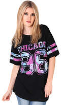 Clothing Women short-sleeved t-shirts Krisp Oversized Baseball T-shirt Black Oversized Baseball T-shirt Black