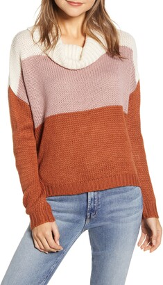 BeachLunchLounge Colorblock Cowl Neck Sweater