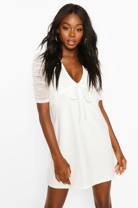 boohoo Ruched Mesh Sleeve Skater Dress With Tie Front