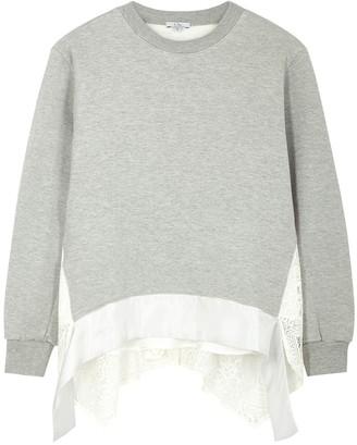 Clu Grey lace-panelled jersey sweatshirt