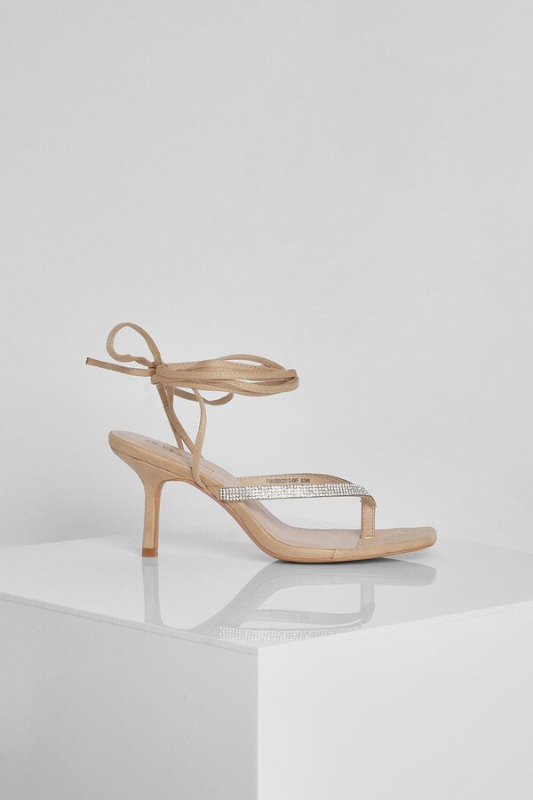 Thumbnail for your product : boohoo Wide Fit Diamante Toe Post Sandal