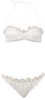 Missoni Mare Ruffled Metallic-zigzag Bikini - White Multi