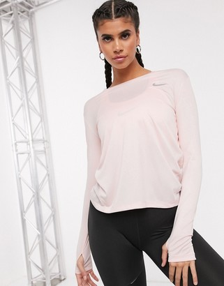 Nike Running miler long sleeve top in pink