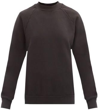 LES TIEN High-neck Brushed-back Cotton Sweatshirt - Black