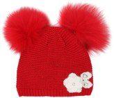 MonnaLisa Tricot Wool Blend Hat W/ Fox Fur Pompoms