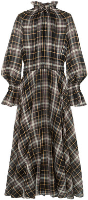 Beaufille Shirred Checked Cotton And Silk-blend Maxi Dress