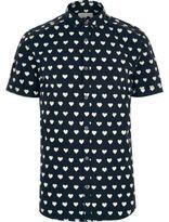 River Island MensNavy heart print short sleeve shirt