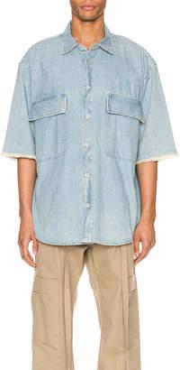 Fear Of God Denim Short Sleeve Button Up in Vintage Indigo | FWRD