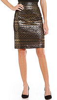 Antonio Melani Tani Metallic Jacquard Pencil Skirt