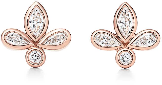 b115325b26853 & Co. Fleur de Lis earrings in 18k rose gold with diamonds, mini