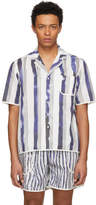 Daniel W. Fletcher White and Blue Bold Stripe Pyjama Shirt