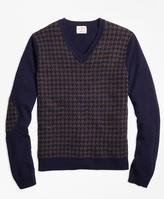 Brooks Brothers Houndstooth Lambswool V-Neck Sweater