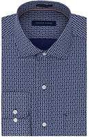 Tommy Hilfiger Men's Non Iron Regular Fit Crab Print Spread Collar Dress Shirt