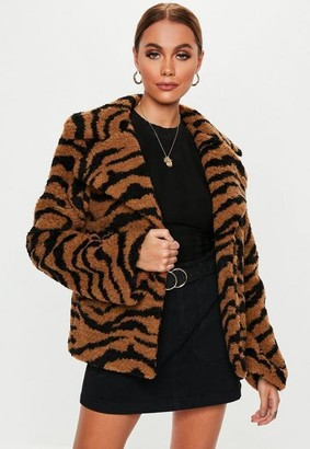 Missguided Orange Crop Tiger Teddy Jacket
