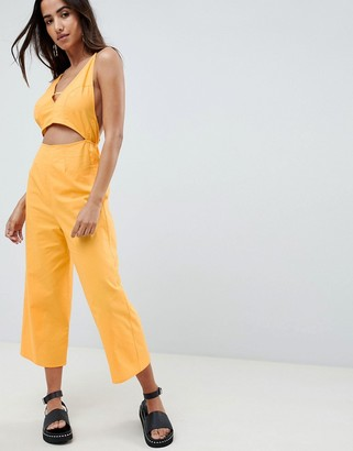 ASOS DESIGN cotton jumpsuit with cut out detail