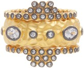Freida Rothman 14K Gold Plated Sterling Silver CZ Contemporary Deco Textured Stack Rings - Set of 3