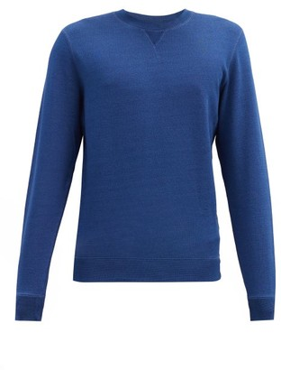 Sunspel Crew-neck Cotton-jersey Sweatshirt - Blue