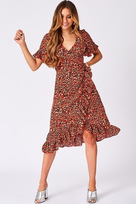 Girls On Film Aubrey Orange Leopard-Print Midi Wrap Dress