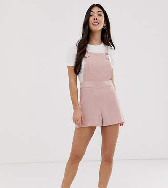 New Look Petite dungaree playsuit in washed rose-Pink