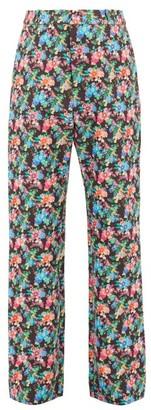 Paco Rabanne Straight-leg Floral-print Cotton-blend Trousers - Black White